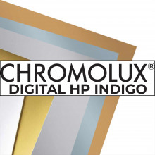 CHROMOLUX DIGITAL HP INDIGO, couché chrome 1 face recto high white, 300g, 46x32, FSC®, paq. 450f