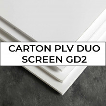 CARTON PLV DUO SCREEN,carton contrecollé couché 2 faces, int gris recyclé,1100µ,800g,80x120,paq. 25f